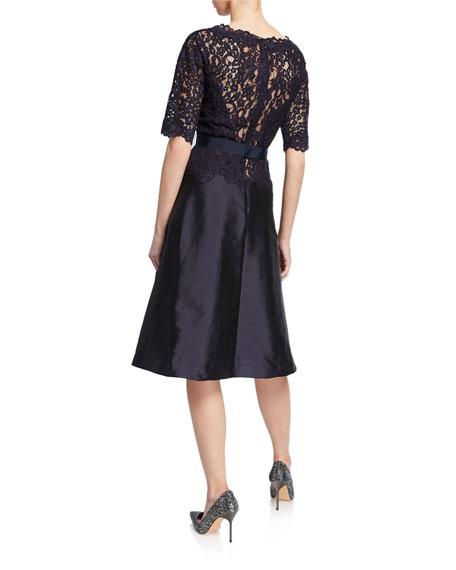 Bateau-Neck Short-Sleeve Gazar A-Line Dress w/ Lace Overlay