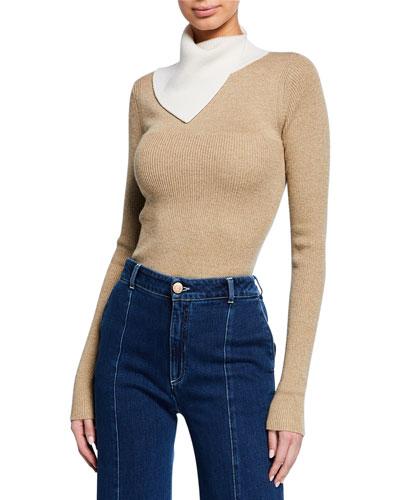 Two-Tone Draped Turtleneck Sweater
