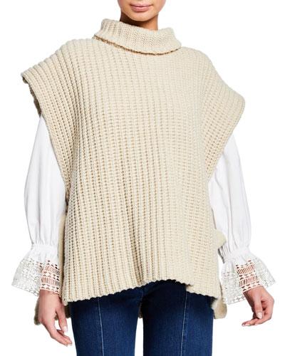 Side-Tie Turtleneck Sweater