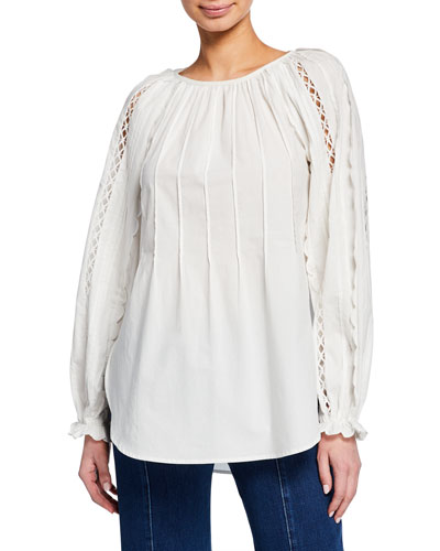 Scoop-Neck Embroidered Long-Sleeve Top