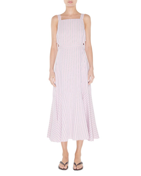 Striped Viscose Twill Strappy Flared Dress by Tibi