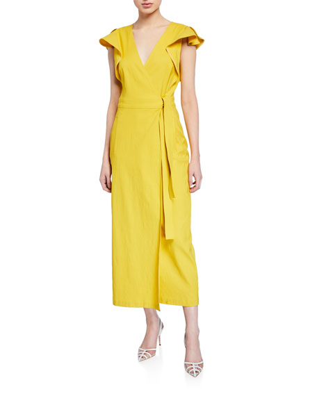 Image 1 of 1: Walker Flutter-Sleeve Wrap Dress