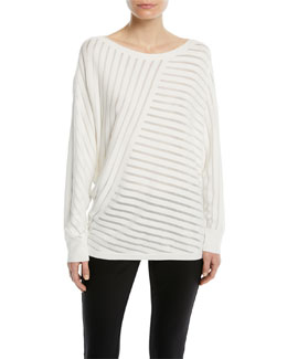 f865d1915332 Lafayette 148 New York Matte Crepe Directional Striped Sweater