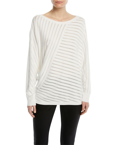 Matte Crepe Directional Striped Sweater