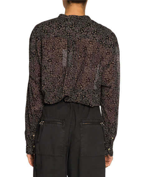 Maria Printed Button-Front Long-Sleeve Blouse