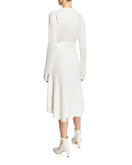 Crewneck Long-Sleeve Ribbed High-Low Dress