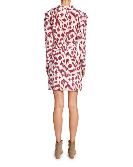 Yoana Printed Long-Sleeve Ruffle Dress