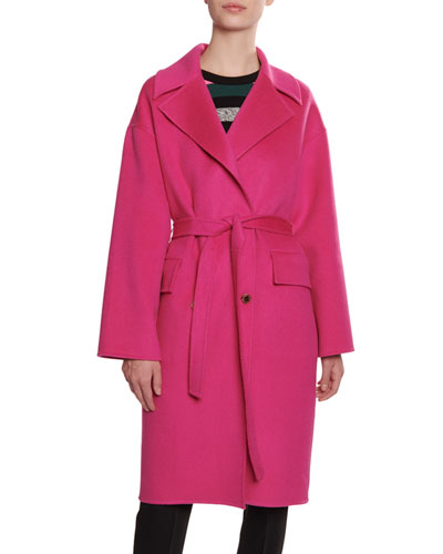 Wool/Cashmere Belted Cocoon Trench Coat