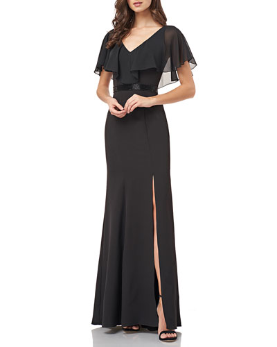 V-Neck Flutter-Sleeve Beaded-Waist Crepe Gown w/ Draped Chiffon
