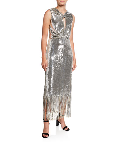 Petra Sequined Twist-Front Fringe Cocktail Dress