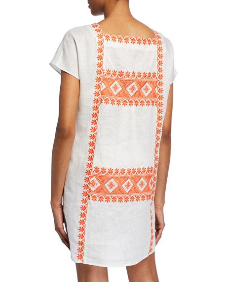 Embroidered Short-Sleeve Linen Dress