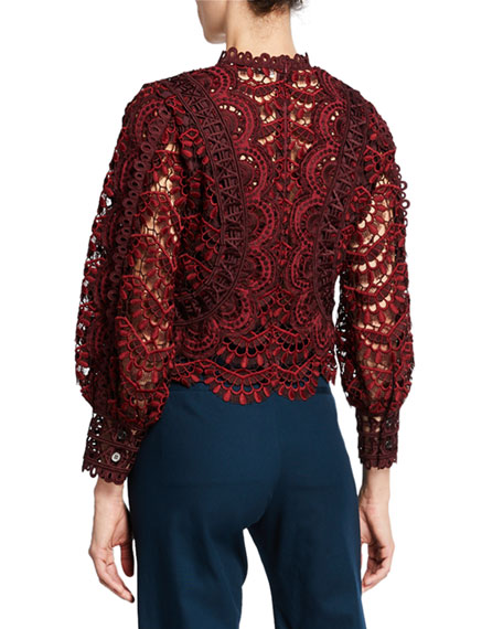 Rosalie Embroidered Lace Long-Sleeve Blouse