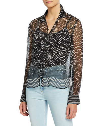 Libby Printed Button-Front Silk Top