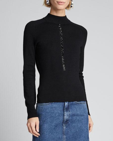 Tatum Mock-Neck Wool Sweater with Metallic Trim