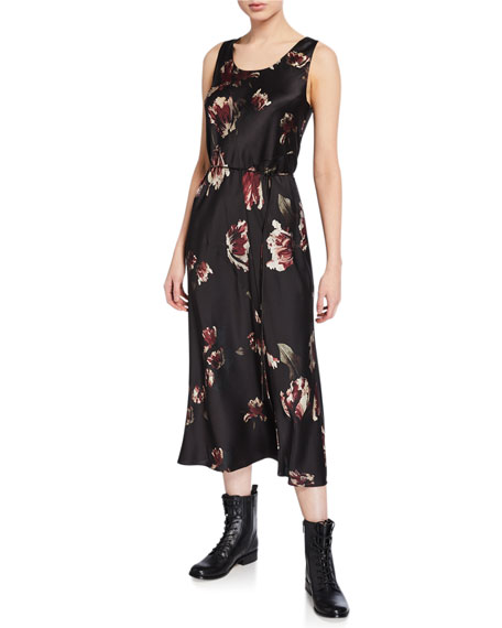 Image 1 of 1: Mixed Tulip-Print Slip Dress