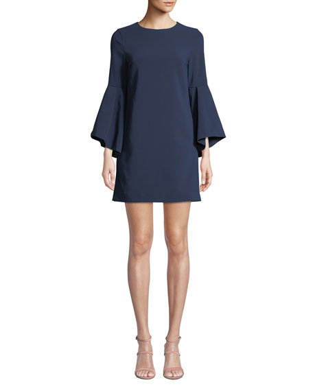 Image 1 of 1: Thym Trumpet-Sleeve Tunic Dress
