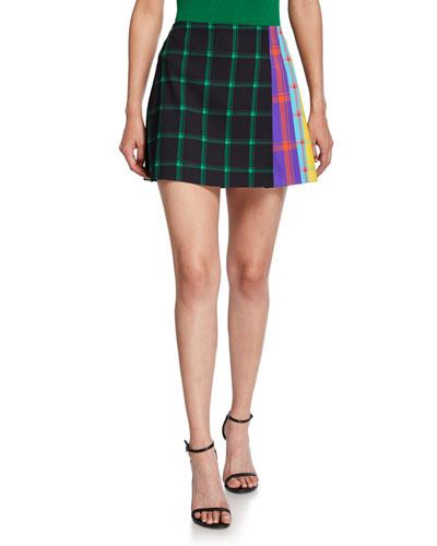 Semira Grid Pleated Colorblock Mini Skirt