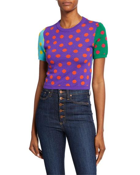 Ciara Dot Colorblock Crewneck Short-Sleeve Reversible Sweater