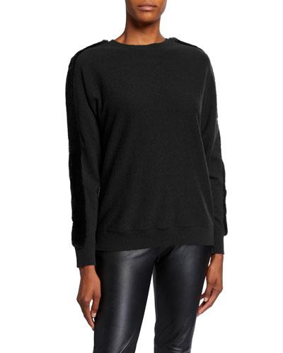 Cashmere Dolman Sweater with Mink Trim