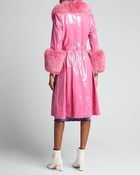 Foxy Gloss Lamb Leather Fox Fur-Trim Coat