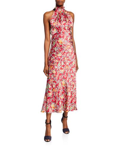 Michelle High-Neck Floral Midi Dress