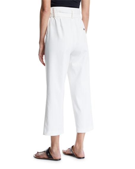 Cropped Paperbag Straight-Leg Pants