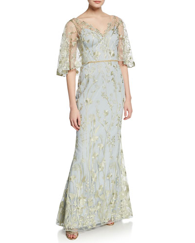 572b3523f094 Floral-Embroidered V-Neck Mermaid Gown with Cape Illusion Quick Look. Marchesa  Notte