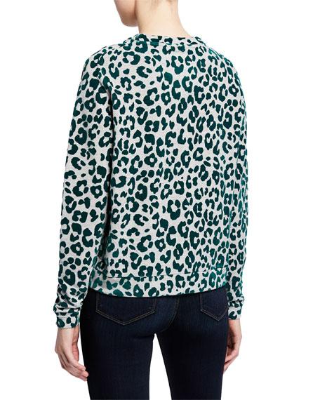 French-Terry Leopard-Print Crewneck Sweatshirt