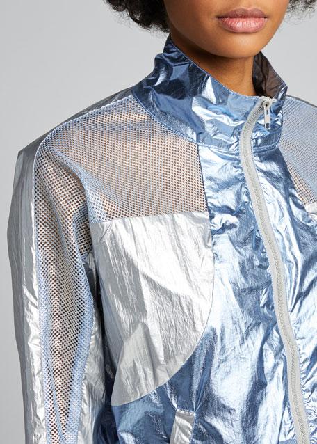 Metallic Zip-Front Active Jacket
