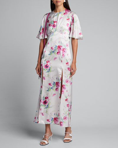Flutter-Sleeve Split-Front Floral Dress