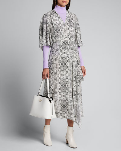 Flutter-Sleeve Snake-Print Long Wrap Dress
