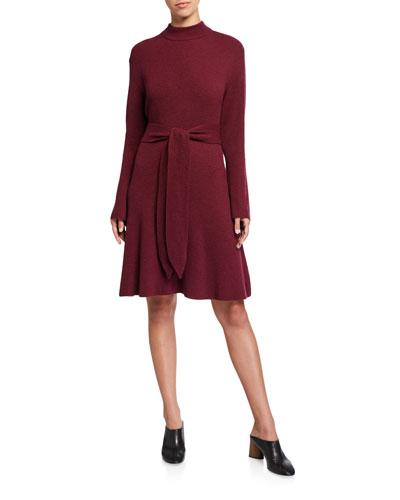 Abhaya Tie-Waist Knit Sweater Dress