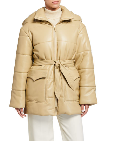 Lenox Vegan Leather Belted Puffer Coat w/ Hood