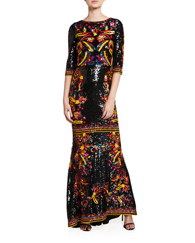 Jae Sequined 3/4-Sleeve Keyhole-Back Gown