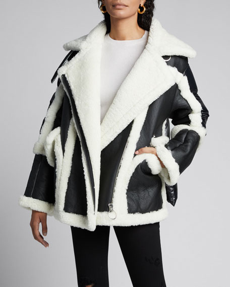 Montaigne Shearling Puffer-Back Coat