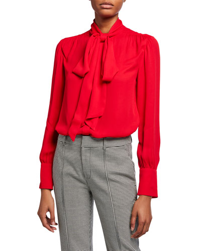Tie-Neck Long-Sleeve Blouse