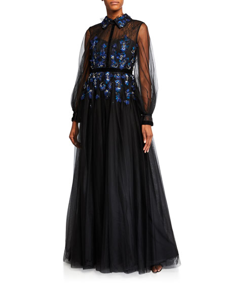 Sheer-Sleeve Embellished Tulle Shirt Gown