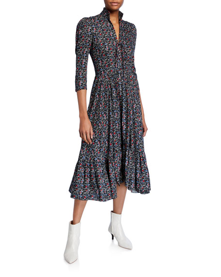 Lorna Printed 3/4-Sleeve Midi Dress