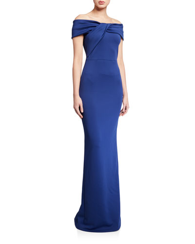 Liliana Off-the-Shoulder Neoprene Column Gown