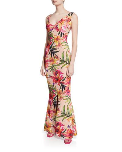 Manisha Print V-Neck Sleeveless Gown with Slit