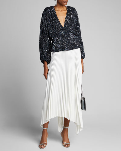 Shirley Sequined Blouson-Sleeve Top