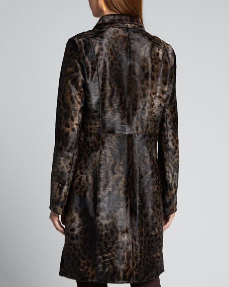 Angelina One-Button Animal-Print Calf Hair Coat