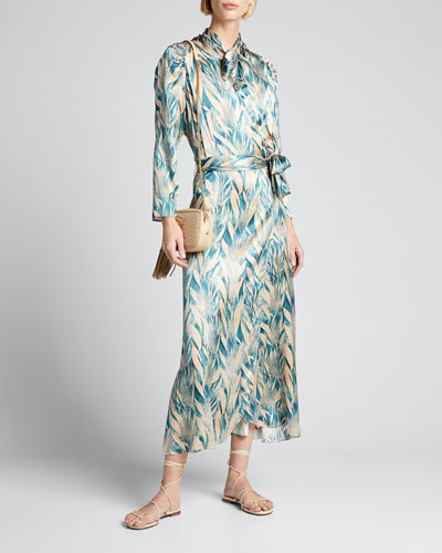 Printed Tie-Neck Satin Wrap Dress