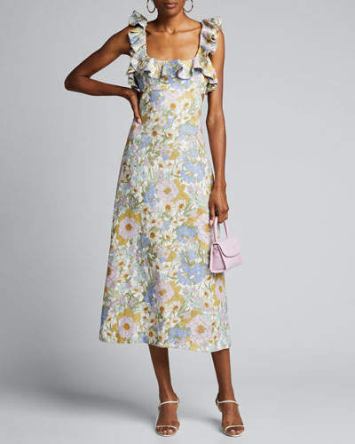 Super Eight Frilled Floral Midi Dress