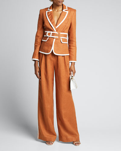 Super Eight Belted Wide-Leg Trousers