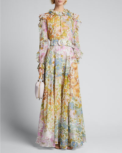 Super Eight Belted Floral Maxi Skirt