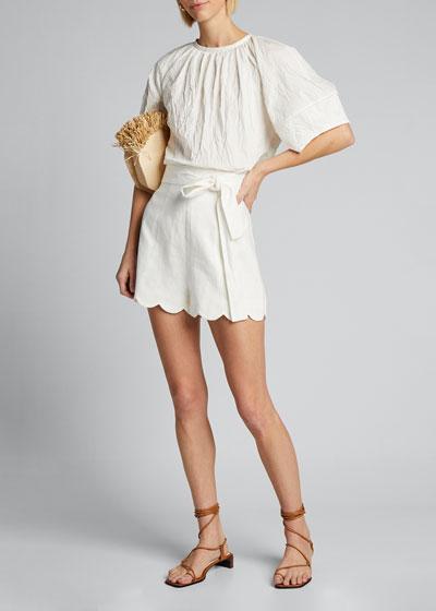 Zinnia Belted High-Waist Scalloped Shorts