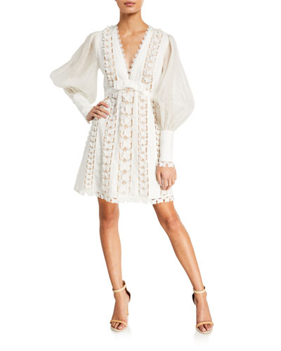 Super Eight Lace Flutter Blouson-Sleeve Mini Dress