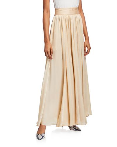 High-Waist Silk Maxi Skirt