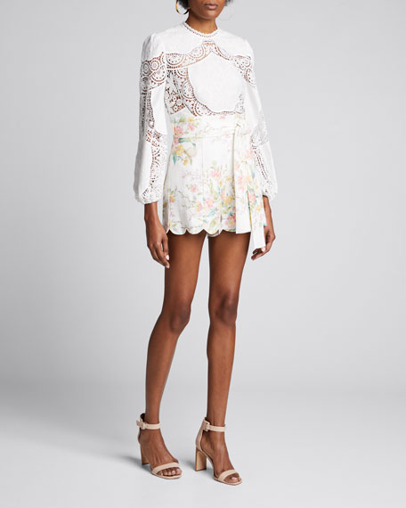 Bonita Crochet Embroidered Long Sleeve Top by Zimmermann